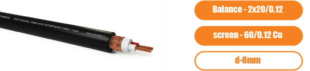 Профессиональный балансный микрофонный (сигнальный) кабель PROCAST Cable BMC 6/20/0.12