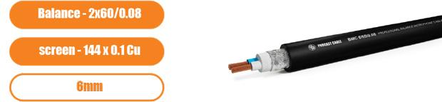 Профессиональный балансный микрофонный (сигнальный) кабель PROCAST Cable BMC 6/60/0.08