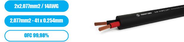 Профессиональный инсталляционный круглый всепогодный спикерный кабель PROCAST Cable SJB 14.OFC.2,077