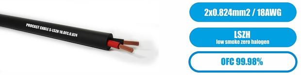 Профессиональный инсталляционный  LSZH (безгалогеновый) спикерный (акустический) кабель PROCAST cable S-LSZH 18.OFC.0,824