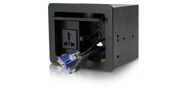 PROCAST Cable TС-16 – врезной модуль с откидной крышкой для комплексного подключения AV устройств к мультимедийной системе с рабочего места