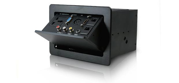 PROCAST Cable TSL-20 - врезной откидной лючек с набором основных мультимедийных и сетевых интерфейсов для подключения аудио-видео устройств